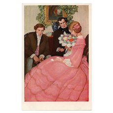 Christmas Callers Anna Whelan Betts Antique Vienne Postcard Unused Mint Condition