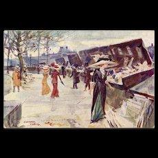 Artist Signed Shoppers Strolling Along the Quai des Bouquinistes Paris Booksellers Antique French Postcard