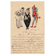 Pierrot, Columbine and Polichinelle 1916 French illustrated Postcard