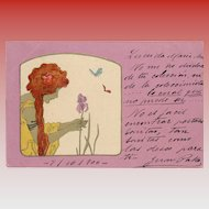 Vestal Virgin in Yellow Picking Iris Lavender Background Series Raphael Kirchner 1900 European Postcard