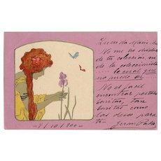 Vestal Virgin in Yellow Picking Iris Lavender Background Series Raphael Kirchner 1900 European Postcard