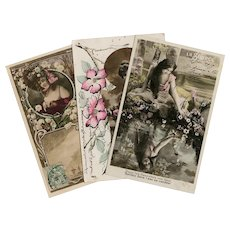 3 Art Nouveau French  Photomontage Postcards Hand Painted