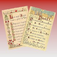 Two Vintage French Cards in Illuminated Manuscript Style Calligraphy with Gold Highlights: Noel and Seven Gifts of Live