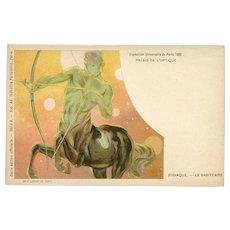 Zodiac Constellation Sagittarius Centaur Astrology Postcard Art Nouveau Lithograph from Paris Expo 1900
