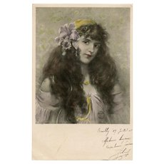 1908 Vienne Illustrated Postcard Artist Signed Beauty with Lavender Orchid in her Hair