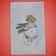 Girl Playing the Piano Illustrated Postcard by Italian Artist Elda Cenni