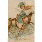 1907 French Silk Postcard Blonde Beauty in Turquoise Winter Goddess
