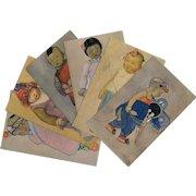 Kelly's Chinese Kiddies Series 6 Vintage Postcards c1930s Shanghai China