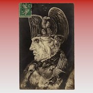 Surreal Arcimboldo Style Collage of Napoleon Bonaparte Antique French Postcard