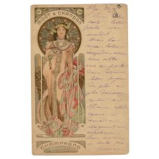 RESERVED for Carol 1903 Alphonse Mucha Art Nouveau Champagne Advertisement Postcard Mailed from Algeria