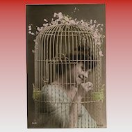 Edwardian Lady Inside Bird Cage Looking Coy Unused Antique French Postcard