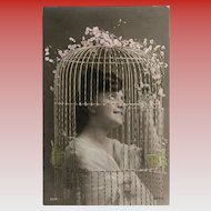Humorous Unused Antique French Postcard: Bird Cage Lady