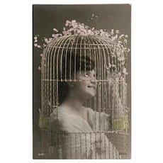 Humorous Unused Antique French Postcard: Bird Cage Lady