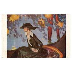 Hour of Serenade by Jean-Gabriel Domergue Salon de Paris Art Reproduction Postcard