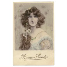 Art Nouveau Beauty with Lilies in her Long Hair Artist Signed M.M. Vienne Illustrated Postcard from 1909