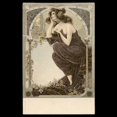 Neoclassical Beauty Day Dreaming Art Nouveau German Postcard with Gold Detailing c1898-1904