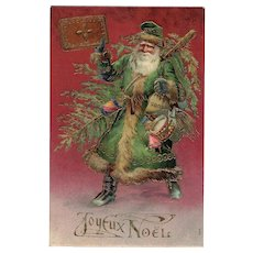 Santa in Green Coat Embossed Gold Highlights Joyeux Noel Postcard from 1905