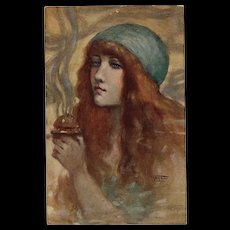 Red Headed Beauty with Incense Holder in Hand by French Painter Gayac Unused Antique Postcard