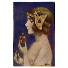 """""""The New Perfume"""" Antique Postcard by French Painter Ernest Gayac (1870-1942)"""