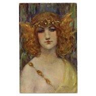 Strawberry Blonde Beauty by French Painter Gayac Antique Chromolithograph Postcard Unused