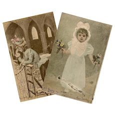 Two Postcards c1898-1903 by French Belle Epoque Artist Henri Boutet