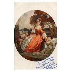 Pierrot and Lover Salon de Paris Art Reproduction Postcard 1916 French Painter Domergue