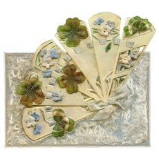 1907 Antique Novelty Mechanical Postcard Unfolds into Fan with Ribbons, Forget Me Nots and Clovers