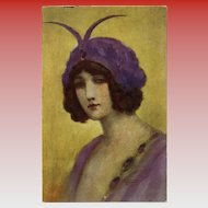 Amethyst by French Painter Gayac Unused Antique French Postcard