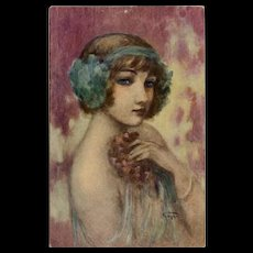 Smiling Enigma Dancer Portrait by French Painter Gayac c1917 Antique Postcard - Red Tag Sale Item