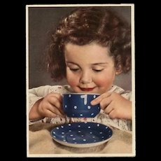 Retro Postcard of Girl Drinking from a No. 1 Polka Dot Cup Germany 1950s