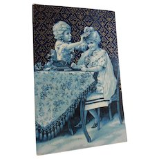 White Wig Girls in Blue Monochrome with Rococo Gold Overlay Design Antique European Postcard