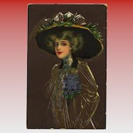 Artistic Illustration of Edwardian Hat Fashion European Postcard from 1917