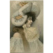 Young Woman in Ruffles, Fur and Lace Antique French Postcard Undivided Back