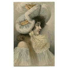 Young Woman in Ruffles, Fur and Lace by German artist Hans Christiansen Antique Postcard Undivided Back