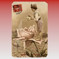 Fantasy Illustration of Child Watering Rose Postcard Mailed to Paris in 1908