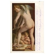 Cupid Making His Bow Art Reproduction Postcard Mailed in Austria 1926