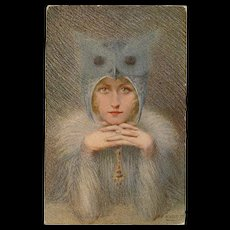 Night Bird Owl Lady Artist Signed Rousselet Unused French Postcard