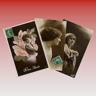 Trio of Fashionable Edwardian Ladies Real Photo Hand-painted French Postcards