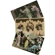 Belle Epoque Actresses Real Photo Art Nouveau Collage 3 Postcards from 1906 and 1907