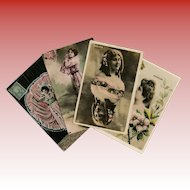 4 Antique French Postcards: Belle Epoque Stars, Cancan Dancer, Twin Collage