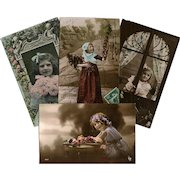 4 Antique French Postcards Real Photos Hand-Tinted Young Girls