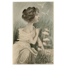 Vestal Virgin with White Doves by Patella French Postcard Artist Signed Unused