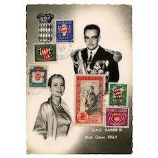 Prince Rainier and Grace Kelly Monaco Philatelic Postcard 1956