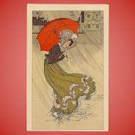 Lady with Orange-Red Umbrella Color Lithograph Antique Postcard