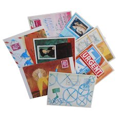 8 Jean-Michel Folon Mail Art Postcards Unused c1975