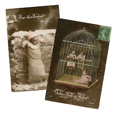 Babies for Sale: Trio in a Birdcage and One on a Wall Antique French Postcards