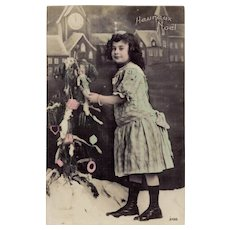 Heureux Noel Edwardian Girl with Toys Antique French Christmas Postcard