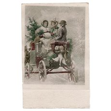 Victorian Style Christmas Carriage Scene Artist Signed Vintage European Postcard