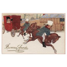 Horses and Red Carriage Winter Scene Vintage French Bonne Année Postcard