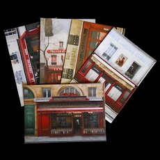 Five Paris Shop Scenes by French Painter André Renoux: Thirsty Artist Bar, Restaurants and Grocery Stores
